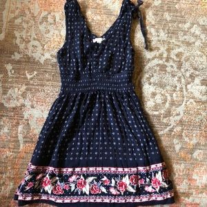 Floral flowy dress thick tied straps above knee